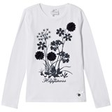 Le Chic White Flower and Diamante Detail Long Sleeve Tee