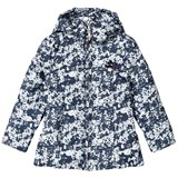 Le Chic Navy and White Floral Ruffle Back Padded Hooded Coat
