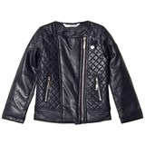 Le Chic Navy Pleather Quilted Biker Jacket