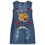 Guess Blue Mid Wash Tiger Applique and Rose Embroidered Dress