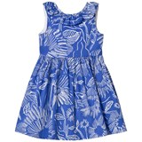 Il Gufo Blue Floral Print Frill Collar Sleeveless Dress