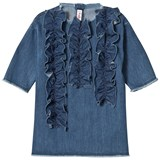 Il Gufo Blue Frill Detail Denim Dress