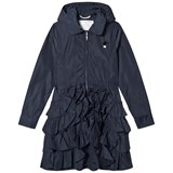 Le Chic Navy Ruffle Hem Hooded Mac