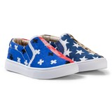 AKID Blue and Red Multi Bandana and Star Odd Print Slip Ons