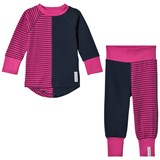 Geggamoja Pink and Blue Two-Piece Pyjamas