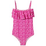 Melissa Odabash Pink Heart Print Ivy Frill Front Swimsuit
