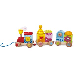 Classic World Wooden Pull Along Train with Blocks One Size