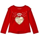Guess Red and Gold Heart Frill Tee