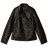 Guess Black Pleather Biker with Heart Studs
