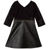 Guess Black Lace and Pleather Dress with Gold Detail