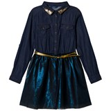 Guess Navy Denim Shirt Dress with Tulle Overlay
