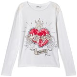 Guess White Heart Print and Diamante and Pearl Tee