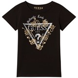 Guess Black and Gold Glitter Logo Tee