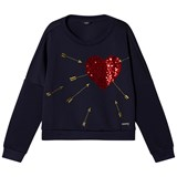 Guess Navy Neoprene Sequin Heart Sweatshirt
