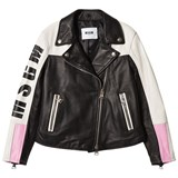 MSGM Black and White Logo Leather Biker Jacket