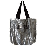 MSGM Silver All Over Sequin Logo Bag