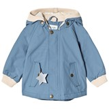 Mini A Ture Light Blue High Neck Rib Detail Hooded Jacket