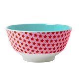 RICE A/S Red and Pink with Star Print Melamine Bowl