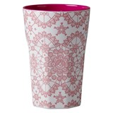 RICE A/S White and Pink Melamine Tall Cup with Lace Print