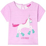 Joules Neon Lilac Stripe Horse Applique Tee