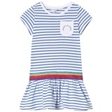Little Marc Jacobs Blue Stripe Branded Jersey Dress with Glitter Waistband