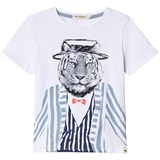 Billybandit White Short Sleeve Tiger in Suit Print Tee