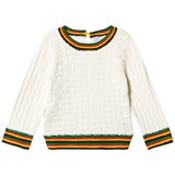 Stella McCartney Kids Cream Textured Faith Jumper with Multi Stripe Trims