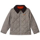 Barbour Light Grey Quilted Helm Jacket with Black Corduroy Collar