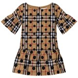 Burberry Beige Classic Check Dress with Spot Print
