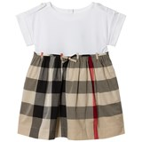 Burberry Beige New Classic Check Rhonda Jersey and Woven Dress