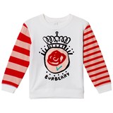 Burberry White and Pink Rose Stripe Tee