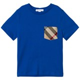 Burberry Cobalt Blue Tee with Check Pocket