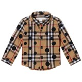 Burberry Beige Classic Check Shirt with Spot Print