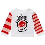 Burberry White and Red Rose Applique Tee