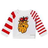Burberry White Lion Applique and Stripe Tee