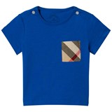 Burberry Cobalt Short Sleeve Tee with Classic Check Pocket