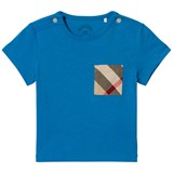 Burberry Cyan Blue Short Sleeve Tee with Classic Check Pocket