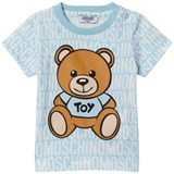 Moschino Pale Blue All Over Branded Bear Tee