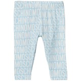 Moschino Pale Blue All Over Branded Print Leggings