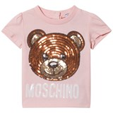 Moschino Pink Sequin Bear and Logo Tee
