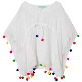 Melissa Odabash White Embroidered Sharize Pom Pom Kaftan