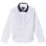 Armani Junior White Dots Long Sleeve Shirt with Polo Collar