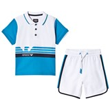 Armani Junior Blue and White Polo and Shorts Outfit Set