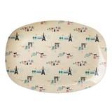 RICE A/S Paris Print Rectangular Melamine Plate