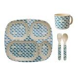 RICE A/S Whales and Starfish Print Dinner Set
