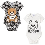 Moschino Pack of 2 White Bear Print and All Over Print Bodies in Gift Box