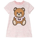 Moschino Pink All Over Branded and Bear Print Dress
