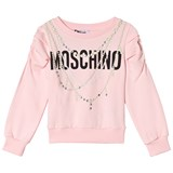 Moschino Pink Pearl Print and Logo Ruched Sleeve Sweatshirt