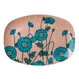 RICE A/S Blue Poppy Print Rectangular Melamine Plate