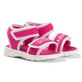 Dolce & Gabbana Pink and White Branded Velcro Sandals